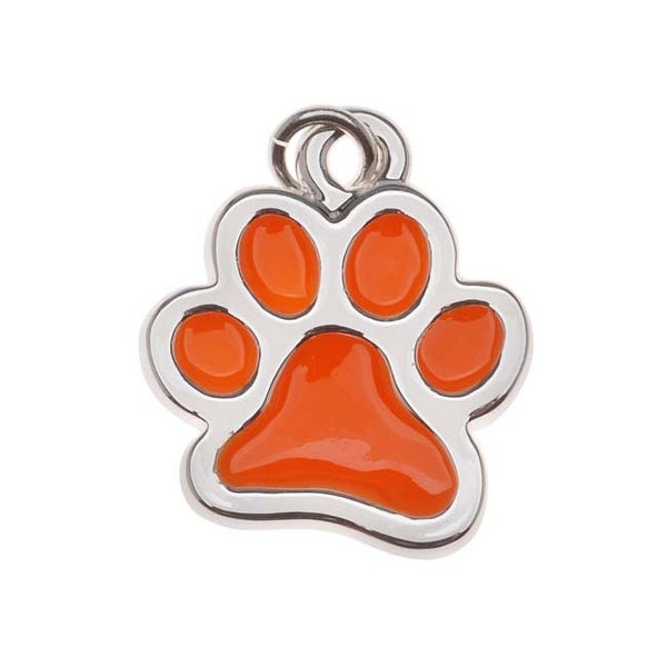 Silver Plated Translucent Orange Enamel Paw Print Charm 16mm (1)