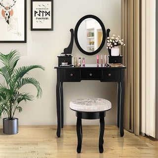 Costway Vanity Table Makeup Table Cushioned Mirror 5 Drawers Black