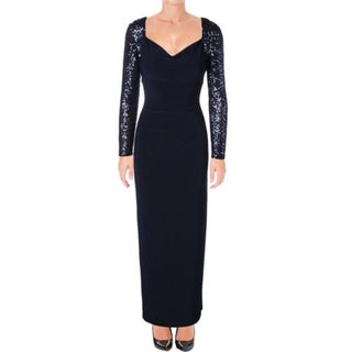 Lauren Ralph Lauren Womens Petites Tolindana Evening Dress Sequined Gathered
