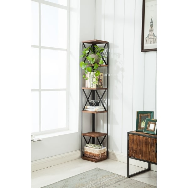 """Raleigh Urban Wood and Metal 66"""" Corner Shelf Bookcase. Opens flyout."""