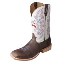 HOOey Western Boots Mens Cowboy Leather Square Brown White