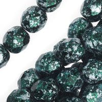 Czech Fire Polished Glass, Faceted Round Beads 6mm, 25 Pieces, Tweedy Green