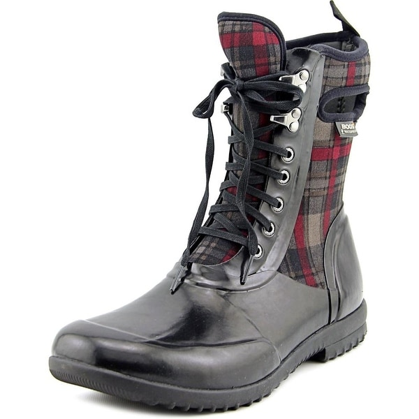 Bogs Sidney Plaid Women Round Toe Synthetic Black Rain Boot