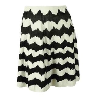 INC International Concepts Women's A-Line Sweater Skirt - WHITE/BLACK