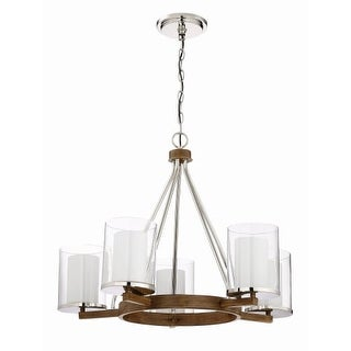 """Craftmade 46425 Lark 5 Light 28"""" Wide Chandelier with Frosted Inside and Clear Outside Glass Shade"""
