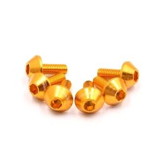 6pcs Gold Tone Aluminum Alloy Motorcycle Hex Socket Head Bolts Screws M6 X 15