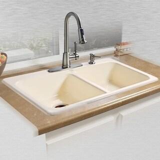 "Miseno MCI25-4TM 33"" Double Basin Drop In Cast Iron Kitchen Sink"
