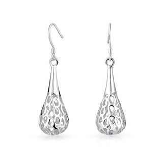 Bling Jewelry Puffed Teardrop Chandelier Dangle Earrings Silver Plated Brass