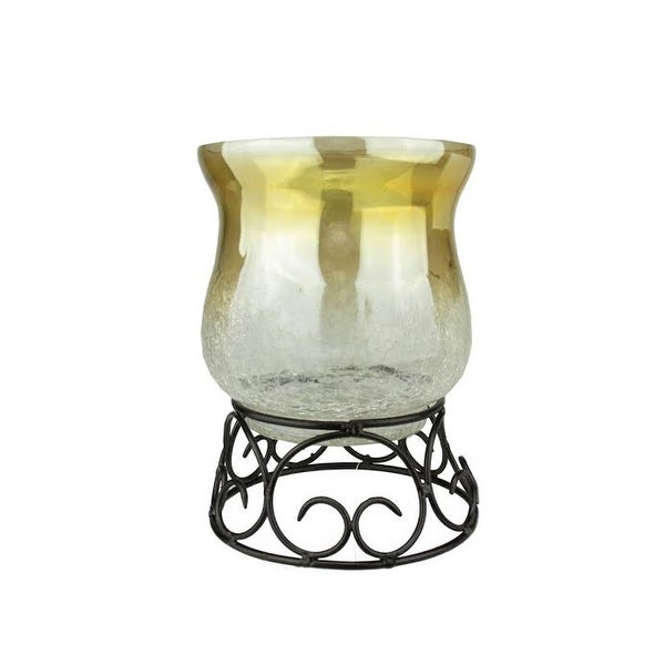 "7.5"" Decorative Golden Luster Crackle Finish Glass Pillar Candle Holder with Black Scroll Base"