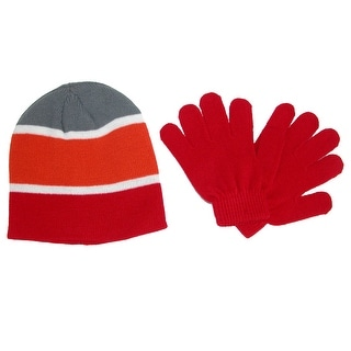 Grand Sierra Kid's 4-7 Striped Hat and Solid Gloves Winter Set - One size