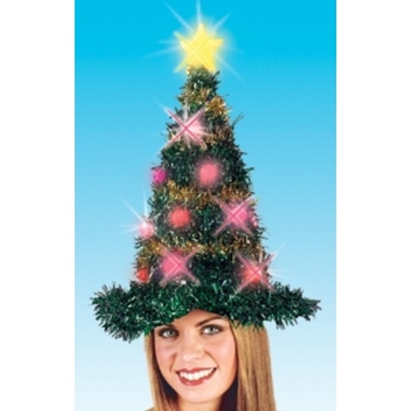 """19"""" Light Up Adult Battery Operated Bright & Colorful Tinsel Christmas Tree Hat - green"""
