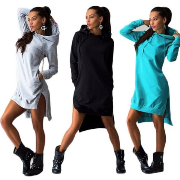 Women Sweatshirt Double Split Hoodie Pullover Pockets Blouse