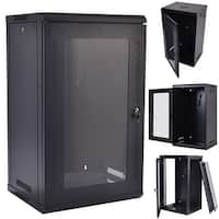 Costway 15U Wall Mount Network Server Data Cabinet Enclosure Rack Glass Door Lock w/ Fan - Black