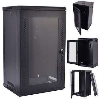 Costway 15U Wall Mount Network Server Data Cabinet Enclosure Rack Glass Door Lock w/ Fan - Black