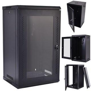 Costway 15U Wall Mount Network Server Data Cabinet Enclosure Rack Glass Door Lock w/ Fan