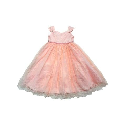 d3105c46f Little Girls Peach Floral Appliques Rhinestone Tulle Flower Girl Dress