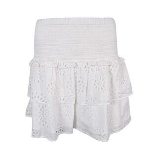 MICHAEL Michael Kors Women's Smocked Tiered Eyelet Skirt - WHITE - M