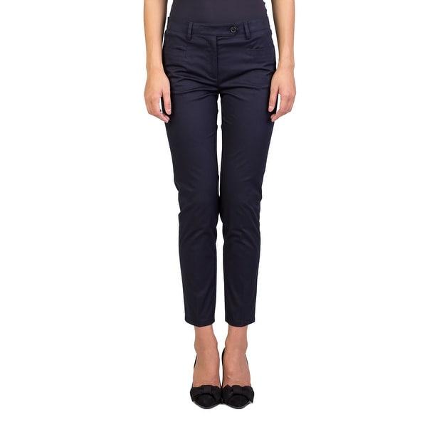 Prada Women's Cotton Slim Fit Chino Pants Navy