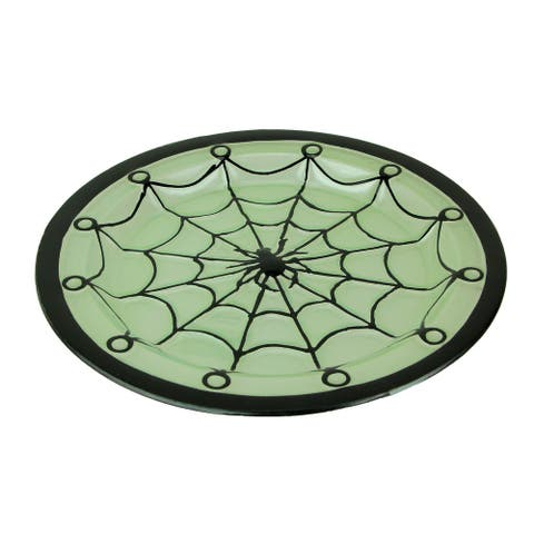 Black and Green Glass Spider Web Decorative Serving Platter - 1 X 14.25 X 14.25 inches