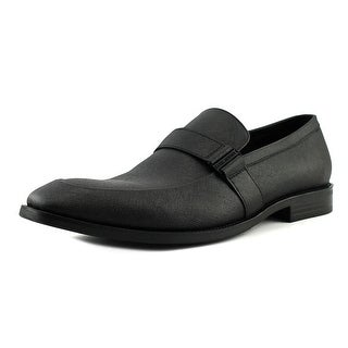 Kenneth Cole NY Major Ticket Men  Apron Toe Leather Black Loafer