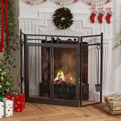 3 Panel Bifold Steel Fireplace Screen
