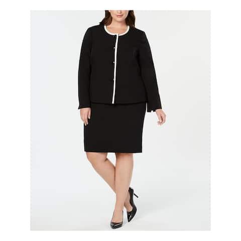 LE SUIT Black Knee Length Pencil Blazer Skirt Suit Size 18W