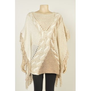 INC International Concepts Knit Fringe Poncho Sweater - L