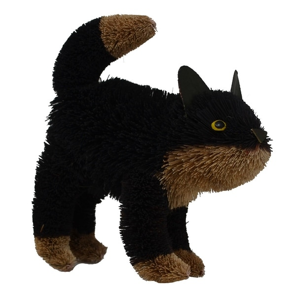 """16"""" Bristle Brush Whimsical Handcrafted Black and Brown Cat Standing - N/A"""