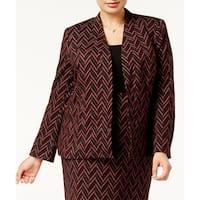 Kasper Womens Plus Zig-Zag Knit Open-Front Jacket