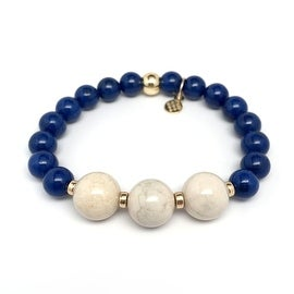 Blue Jade 'Trinity' stretch bracelet 14k Over Sterling Silver