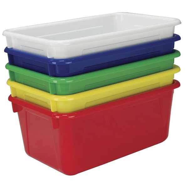 School Smart Stackable Tote Tray, 12 x 8 x 5 Inches, Assorted, Set of 5