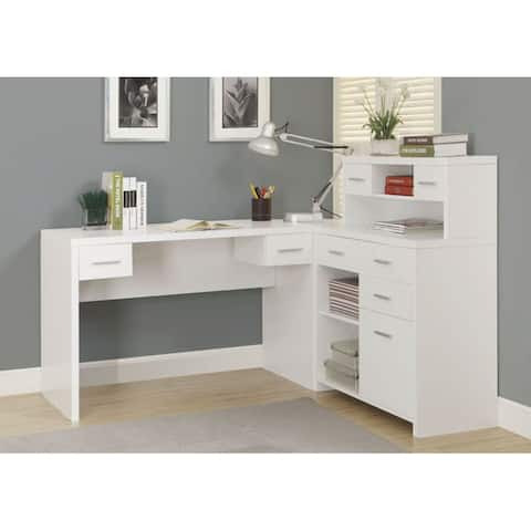 Offex White Hollow-Core L Shaped Home Office Desk