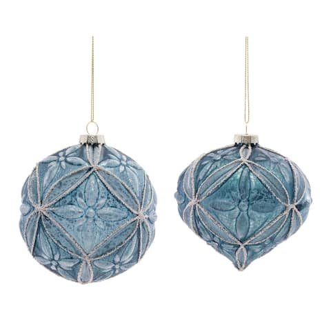 """Set of 12 Blue Glass Christmas Ball and Onion Ornaments 4.5"""" (115mm)"""