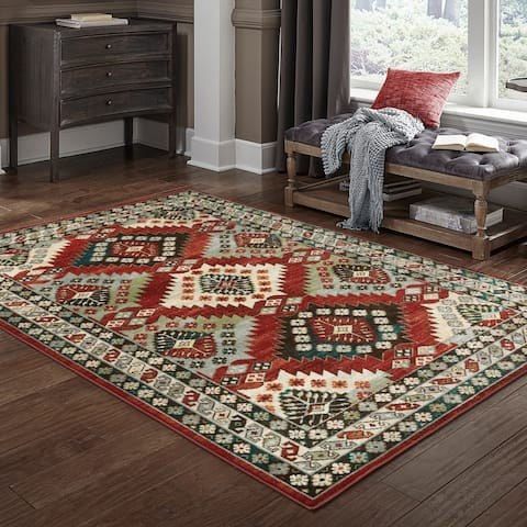Porch & Den Pershing Red/ Multi Tribal Medallions Area Rug