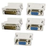 Unique Bargains 5 x DVI-I Male to VGA SVGA 15Pin Female Video Card Monitor LCD Converter Adapter