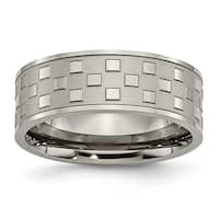 Chisel Titanium 8mm Satin and Polished Checkered Band