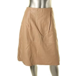 French Connection Womens Lambskin Leather Pleated A-Line Skirt - 8