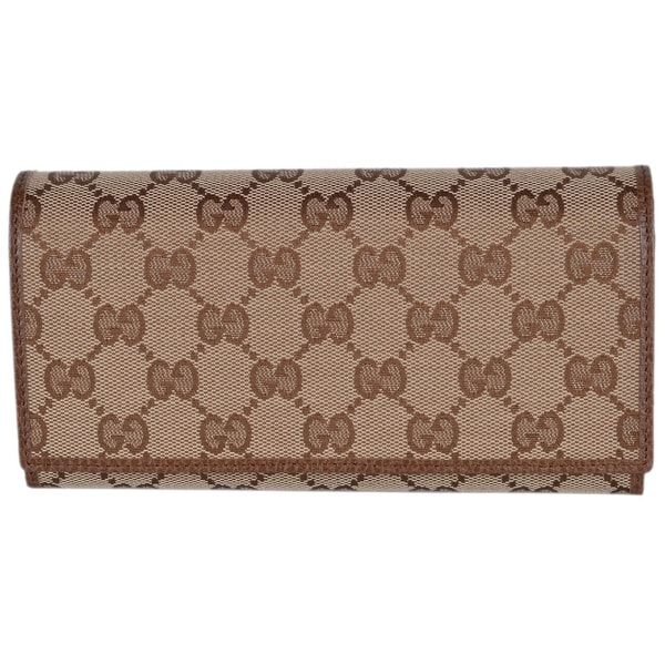 29bb0336fc189a Gucci Women's 346058 Beige Brown Canvas Leather Continental Bifold  Wallet