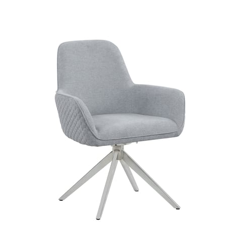 Swanside Light Grey and Chrome Flare Arm Side Chair