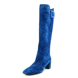 Roger Vivier Stiv Ale T.45 F.Ric Women Square Toe Suede Blue Knee High Boot