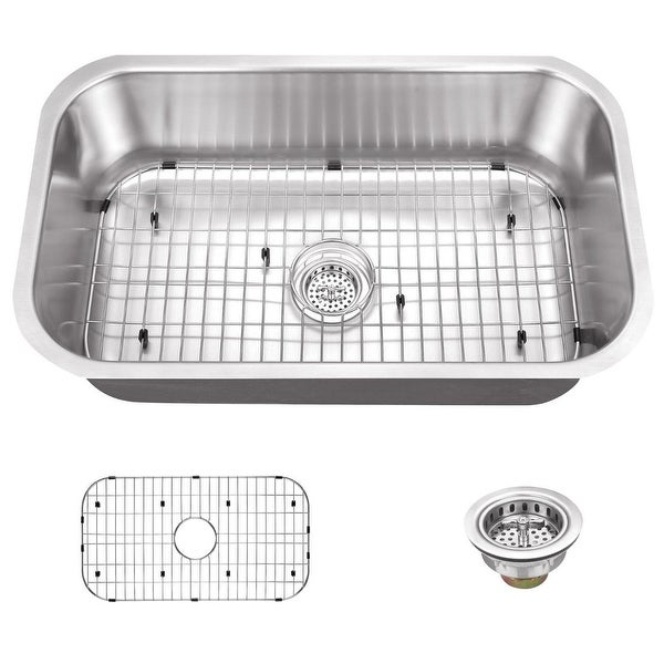 "Miseno MSS3018C 30"" Undermount Single Basin Stainless Steel Kitchen Sink - Drain Assembly and Basin Rack Included Free"
