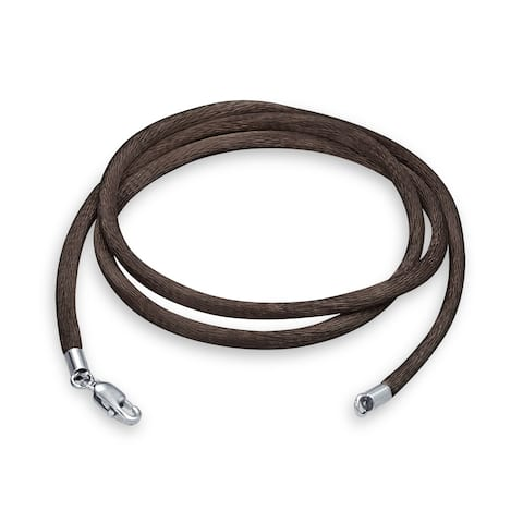 Brown Satin Silk Necklace Pendant Cord For Women For Men Teen Silver Plated Lobster Claw Clasp 20 Inch