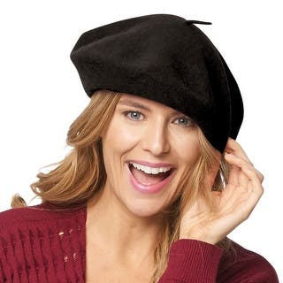Women's Basque Beret - 100% Wool French Hat Cap|https://ak1.ostkcdn.com/images/products/is/images/direct/f74de797e3c0bcc4f3727cbcbe62291f91fd0c59/Women%27s-Basque-Beret---100%25-Wool-French-Hat-Cap.jpg?impolicy=medium