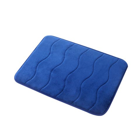 """Navy Wave Stitched Velvet Memory Foam Bath Mat Set 17""""x24"""" AND 24""""x32"""" Fast Drying Non Slip"""