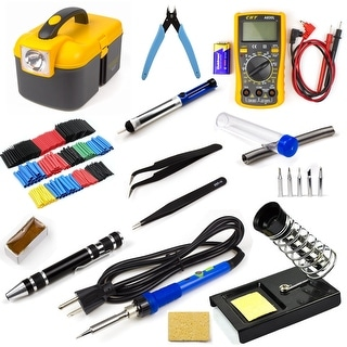 Electric Soldering Iron Kit 60W Adjustable Temp Welding Tool Set with Digital Multimeter
