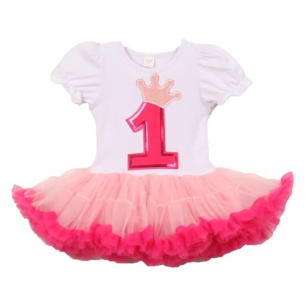 Baby Girls White Pink Number Crown Applique Birthday Tutu Dress 1-2 Years