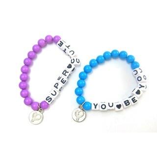 Frienship Bracelets, Jojo Siwa, Set of 2 Blue Purple BFF Beaded Friendship