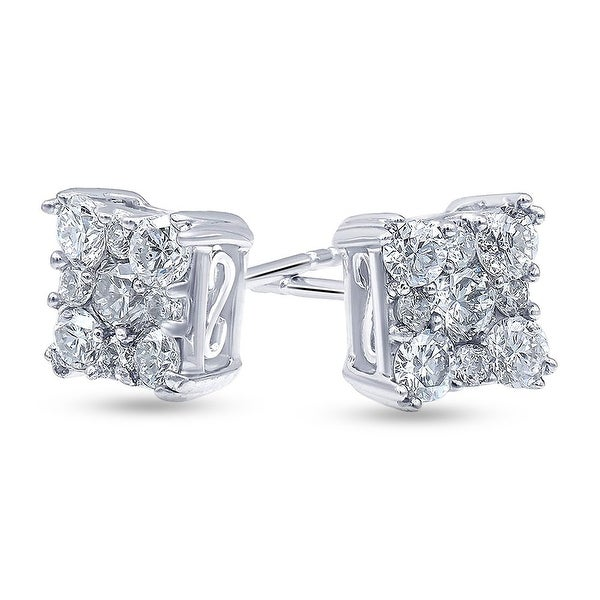 1.0 Carat Diamond, Shared Prong Set Sterling Silver Stud Earring In Lab Grown Diamonds (I, SI1) by Grown Brilliance. Opens flyout.