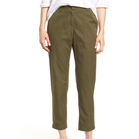 Nordstrom Signature Green Womens Size 16 Cropped Ankle Patch Pants