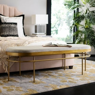 """Link to Safavieh Sylva Glam Grey/ Gold Oval Bench - 63"""" x 22"""" x 20"""" Similar Items in Living Room Furniture"""